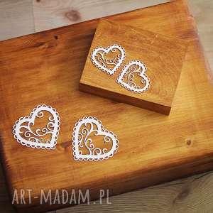 Zestaw pudełek - na obrączki i koperty, drewno, koronka, pudełko,