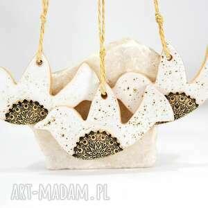 dekoracje 3 ceramiczne ptaszki choinkowe - loft, świąteczne