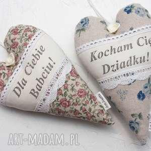 hand-made dekoracje serce serduszko retro z napisem dzień babci dziadka komplet
