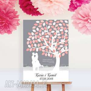 Romantyczne drzewo wpisów - Obraz na płótnie 55x80 cm, drzewo-wpisów, księga-gości,