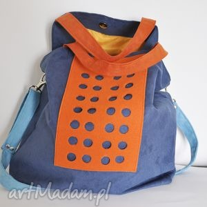 na ramię torba hobo xxl - kobalt, pomarańcz, błękit, hobo, xxl