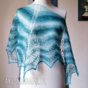 lazurowa zatoka moher z jedwabiem, rękodzieło, chusta na drutach, ażurowa