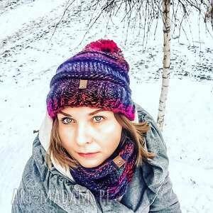 czapka, czaoka, czapka zimowa, na drutach, moda z pomponem