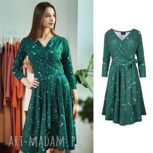 sukienki atencja zielona kwiatki kopertowa sukienka rozkloszowana, sukienka, dzianina