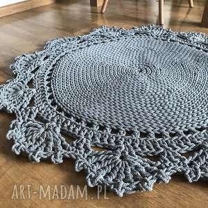 Dywan bawełniany z koronką DZIERGANY Z GRUBEGO SZNURKA 100cm, dywnik, dywniksznurkowy