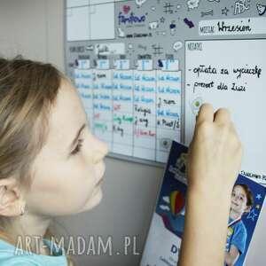 hand-made pokoik dziecka planer szkolny dla ucznia na ścianę lub szaflę - plan lekcji - suchościeralny kalendarz miesiąca