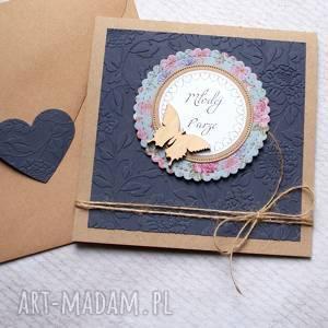 kartki kartka ślubna granat łąka, ślub, ślubna