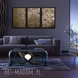 wielki obraz złoty tryptyk, wielkie obrazy, złota dekoracja, abstrakcyjny