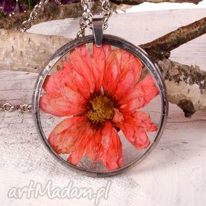 hand-made naszyjniki z1108 wisior z kwiatem w żywicy technika tiffany