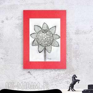 rysunek czarno biały słonecznik, biało czarny tuszem, grafika do salonu