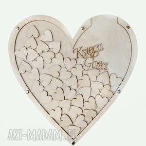 ślub drewniana księga gości serce