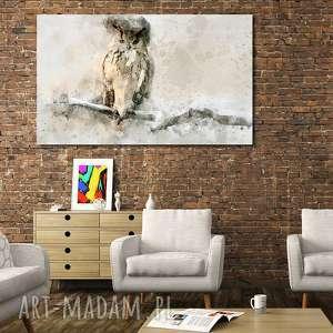 obraz duże SOWA 1 -120x70cm na płótnie szary biały beż czarny ptak designe