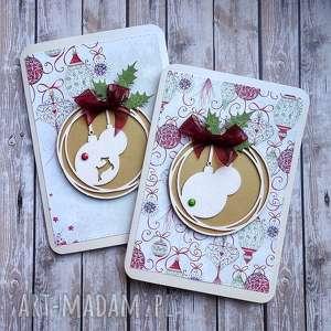 kartki świąteczny dwupak, życzenia świąteczne, święta, bombki, boże narodzenie