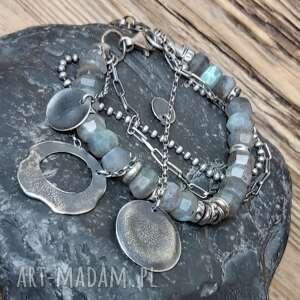 bransoletka ze srebra i labradorytu, srebrna, metaloplastyka, srebro