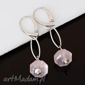 kwarc różowy, srebro, delikatne, kolczyki, wyjątkowy prezent