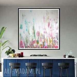 obraz ręcznie malowany 120x120, duży obraz, sztuka nowoczesna, abstrakcja