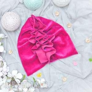 ręczne wykonanie turban velvet amarant