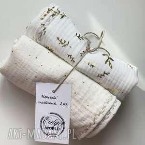 pokoik dziecka pieluszki muślinowe 2 sztuki białe/ecru, pieluszka, nachrzest