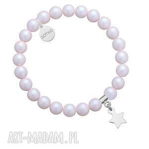 bransoletki bransoletka z opalizujących pereł swarovski crystal ze srebrną gwiazdką
