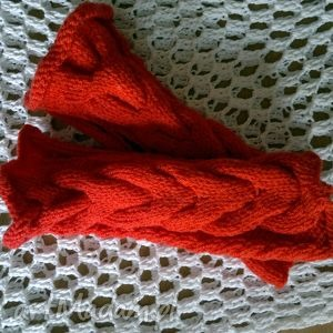 mitenki only red - mitenki, jasnoczerwone, czerwone, warkocze, handmade