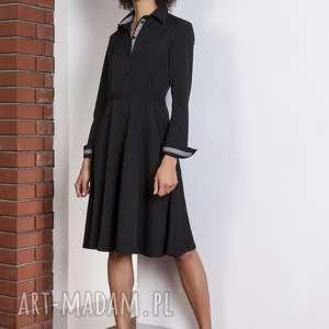 rozkloszowana sukienka, suk151 czarny, elegancka, klasyczna