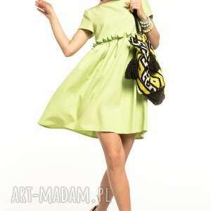 Sukienka marszczona pod biustem, t306, jasnozielona sukienki