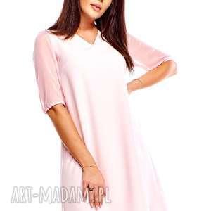 sukienki sukienka trapezowa z tiulowymi rękawami, trapezowa