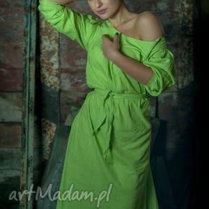 ręcznie robione sukienki lniana zielona sukienka