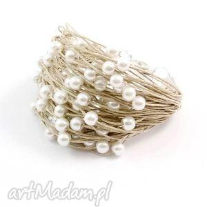 bransoletka lniana - tak, len, perły, świąteczny prezent