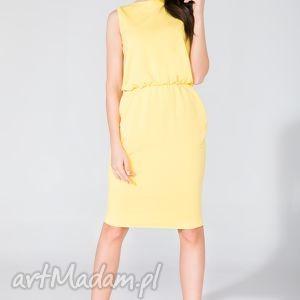 sukienka midi z kieszeniami t132 żółty - sukienka, midi, letnia, kieszenie