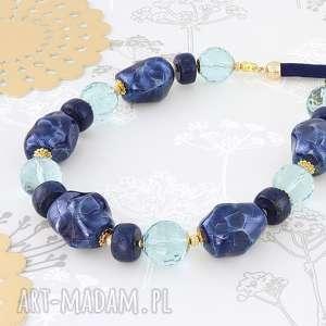 Prezent NASZYJNIK - lapis lazuli,szkło,ceramika., lapis-lazuli, szkło, ceramika
