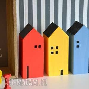 3 domki drewniane, domki, domek, drewna, drewniany, półka, skandynawski