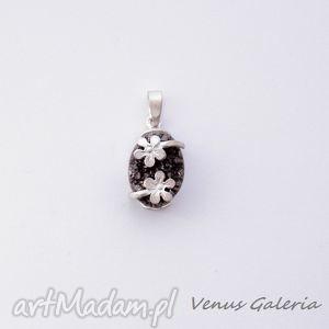 wisiorek - druza grey ii w satynie, biżuteria, srebro, wisiorki
