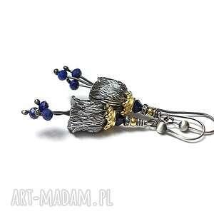 dzwonki z lapisami - kolczyki, srebro oksydowane, pozłacane, dzwonki, lapis