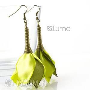 Kolczyki kwiaty długie - limonka, kolczyki, limonkowe, kwiaty, satyna
