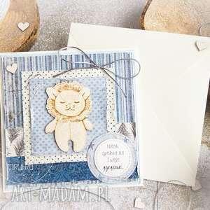 kartka z lwem w kopercie piękna, warstwowa personalizowana treść, roczek