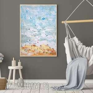 obraz olejny pejzaż morski nad bałtykiem wakacje lato 29x42 cm