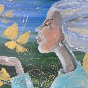 Prezent Tchnienie lata, 4mara, marinaczajkowska, obraz, płótno, anioł, prezenty