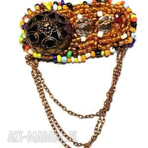 broszka wyszywana boho folk, etno, boho, broszka, haft, wyszywana, koraliki