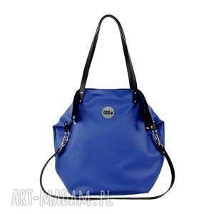 torba worek waterproof #navy blue, modna, wygodna, do pracy, eko skóra, na zakupy