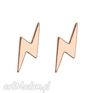 hand-made kolczyki kolczyki pioruny z różowego złota