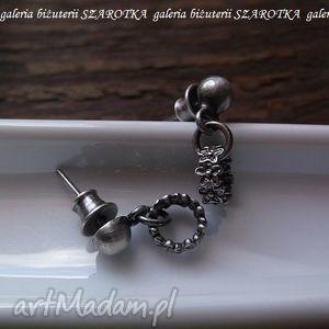 Wianuszki kolczyki ze srebra szarotka srebro, oksydowane, wianki