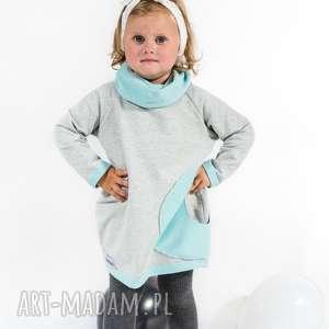 sukienka szara z golfem - turkus, moda