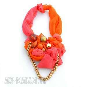 FRESH MIX naszyjnik handmade, naszyjnik, kolia, kolorowy, różowy, pomarańczowy