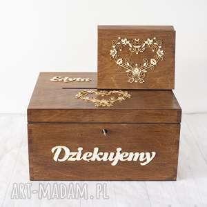 zestaw pudełek - koronkowe serca, pudełko, drewno, eko, rustykalne, obrączki