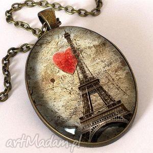 Kocham Paryż - Owalny medalion z łańcuszkiem, owalny, medalion, paryż, eiffla