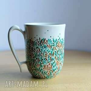 kubek zieleń złoto ręcznie malowany, kubek, ceramiczny, ceramika, ceramika