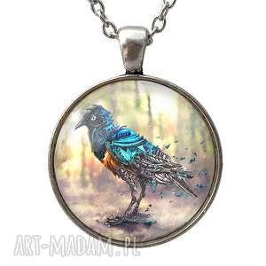 hand-made naszyjniki mechaniczny ptak - duży medalion z łańcuszkiem