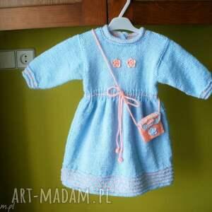 ubranka sukienka błękitna z torebeczką, rękodzieło, włóczka, sukienka