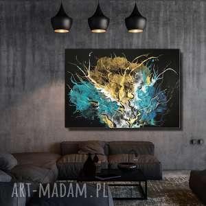 zderzenie galaktyk - 100x70 cm ręcznie malowana abstrakcja na płótnie